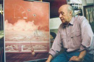Le peintre devant un tableau