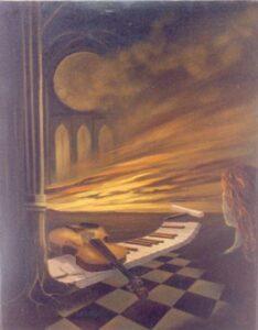 Un soufle lumineux éclire un violon, un clavier et une femme
