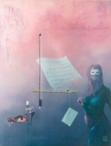 Dans l'air: un archet, une partition et une femme bleue
